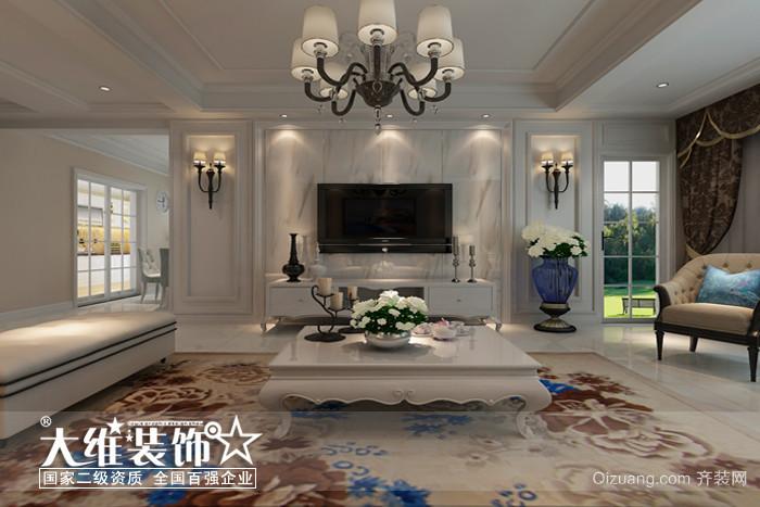 客厅电视背景墙效果图-宝业桐城绿苑133平方户型简欧风格效果图案例高清图片