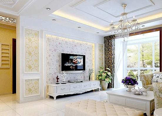 屏风造型的欧式电视背景墙