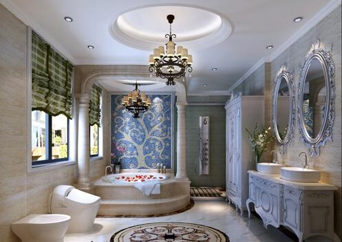 别墅卫生间的镜子装饰