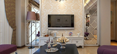 客厅电视背景墙,材料质感搭配!