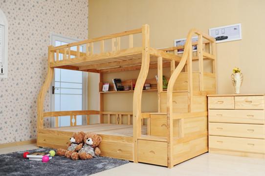 儿童实木高低床