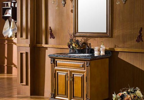 橡木浴室柜效果图