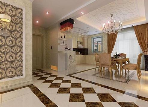 客厅地砖拼花效果图案例欣赏