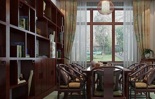 中式书房家具布置