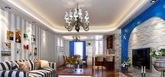 地中海风格客厅,潮流客厅吊顶!