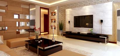 土豪金色系客厅白色电视背景墙装修效果图图片
