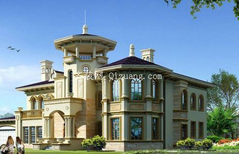 欧式别墅外观装饰效果图