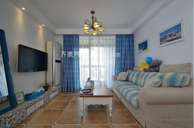 地中海风格客厅窗帘