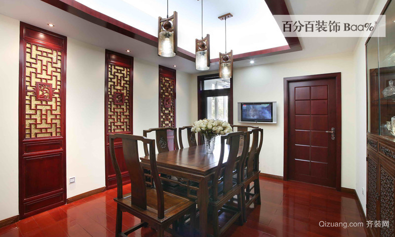 147平三居室新中式装修效果图案例赏析高清图片