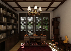 中式书房装修注意要点 黑红色调带来宁静沉淀