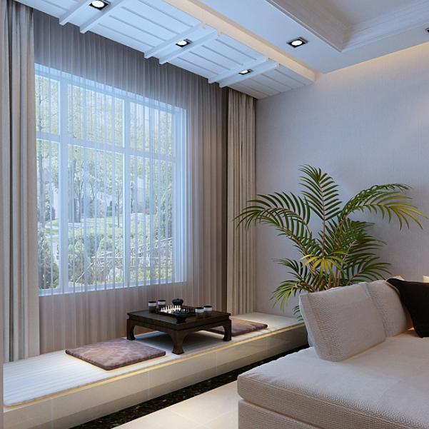 客廳大飄窗窗簾怎么裝修 客廳大飄窗裝修效果 超大飄窗客廳戶型裝修案例