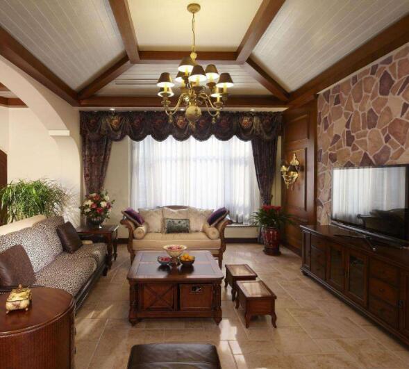 别墅客厅吊顶装修方案 别墅客厅美式吊顶装修风格 别墅客厅吊顶装修效果