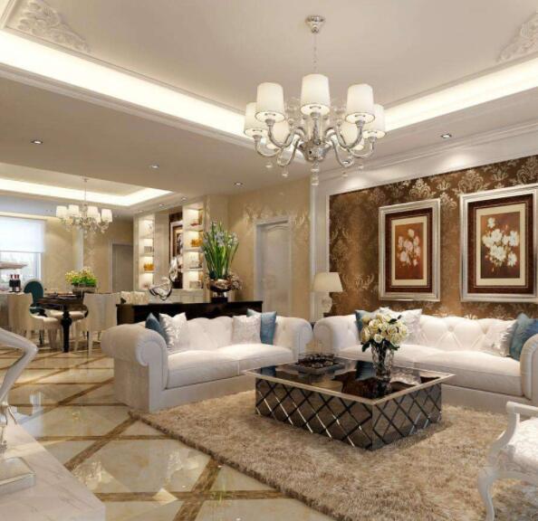 欧式装修客厅吊顶灯罩 欧式装修客厅吊顶角花 客厅吊顶欧式装修最简单