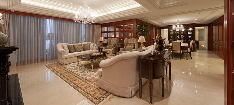 美式風格現代大戶型客廳裝修效果圖案例