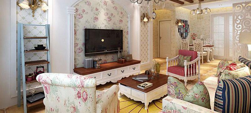 别墅型田园风格客厅装修效果图鉴赏
