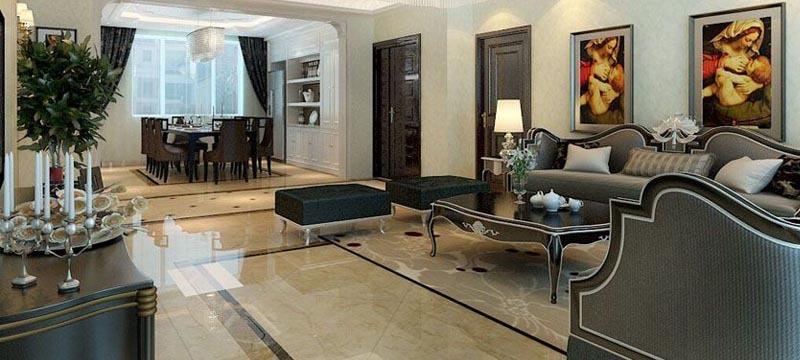 欧式普通户型客厅装修效果图
