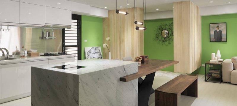 现代简约风格,开放式厨房和吧台www.lt088.com设计