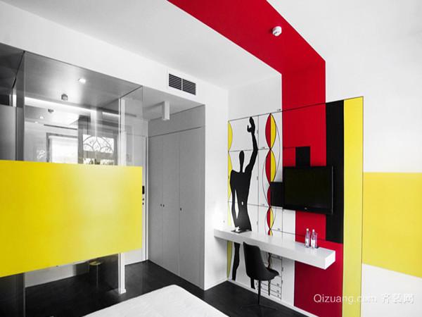 抽象色块手绘背景墙效果图