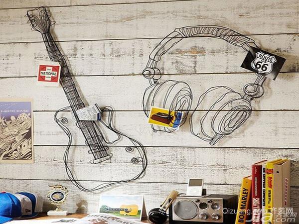 动感韵律手绘背景墙效果图