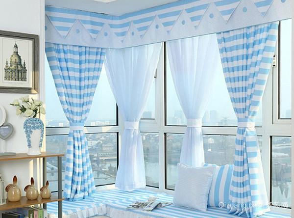 兰色条纹飘窗窗帘