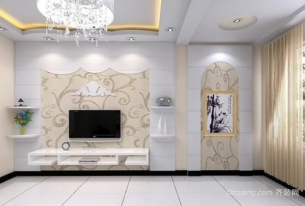 这个美式乡村风格的客厅电视墙采用几何图形