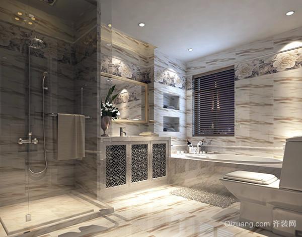 卫生间装修效果图欣赏之内嵌洗衣机节省空间 把洗衣机放置在洗手台平台下方,大大地节省了卫浴的空间,也保持了外观上的整洁。大面积的方形镜子从视觉上扩大了空间感,玻璃门和吊顶的棕色木条让空间色彩不再单调。 六、卫生间装修效果图欣赏之颜色和梯级分区