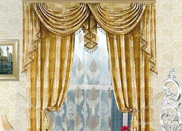 铅线,布袋,绑带,花边等组成,不同造型的欧式窗帘安装在不同的空间位置