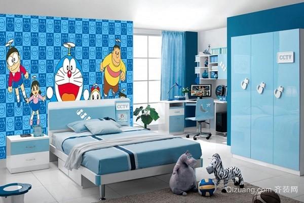 卧室可爱墙纸就是一个选择卡通人物哆啦a梦作为主体的墙纸.