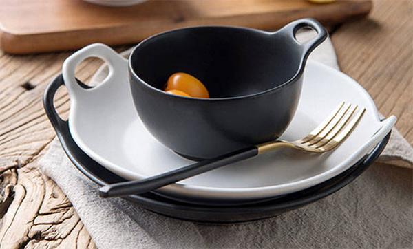 日式双耳磨砂早餐碗
