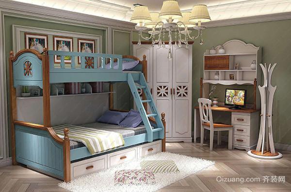 四,美式地中海风格儿童玩具房间 儿童房淡绿色系的装修风格结合白色