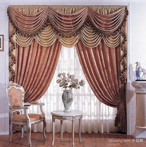 欧式深咖啡色窗帘
