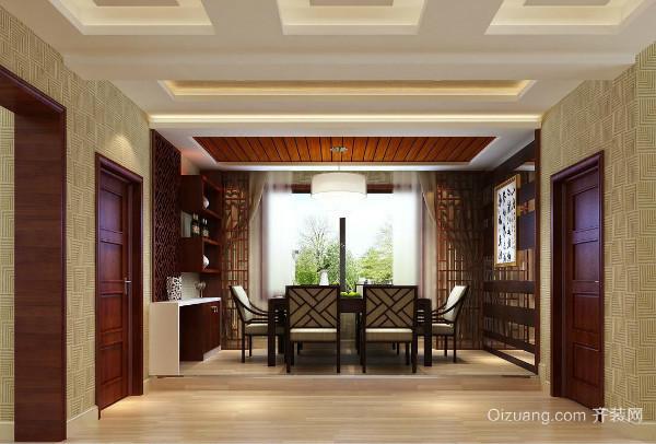 中式餐厅吊顶通常采用的是多根实木线条拼接而成的形状,线条比较优美