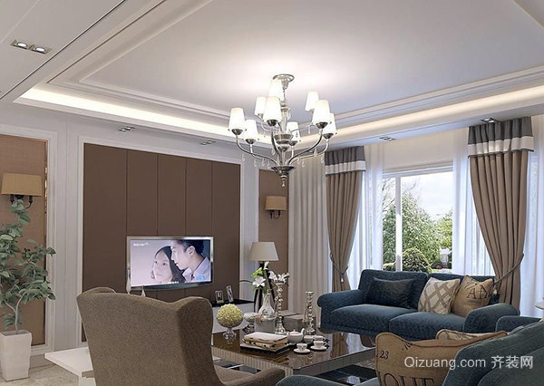 欧式风格的客厅,可以选择水晶吊灯,若是中式风格客厅,可以选择木质吸