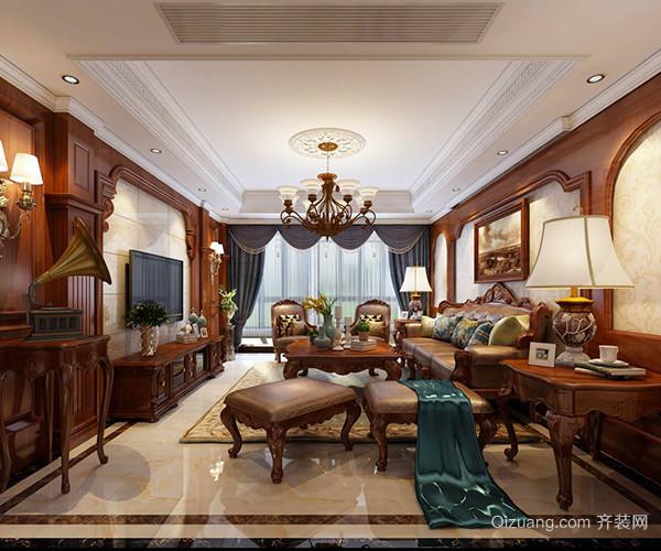 材料选用高档红胡桃饰面板,欧式风格壁纸,仿古砖,石膏装饰线等;墙面饰