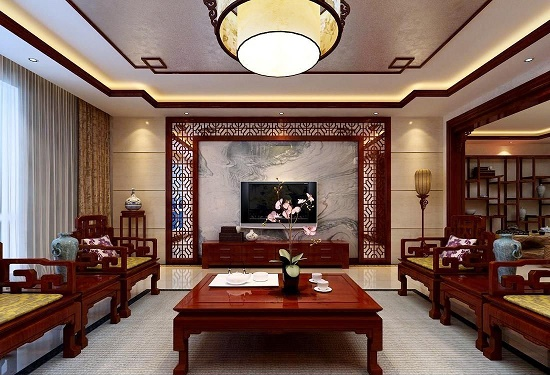 中式3D立体线条花朵电视背景墙效果图片免费下载 - 素材之家