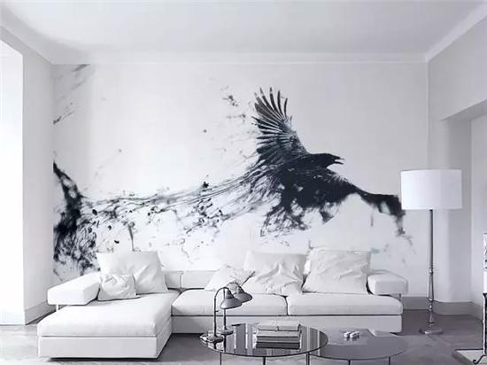 黑白色沙发墙