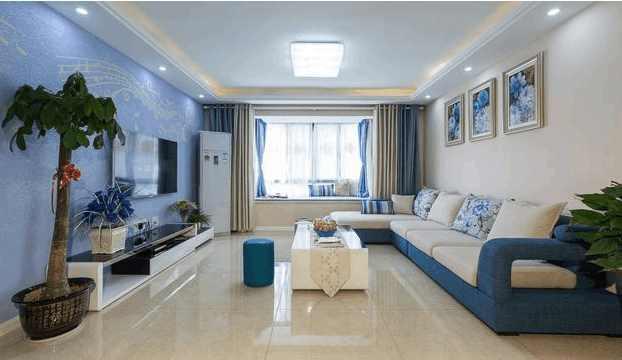 客厅蓝色调电视墙