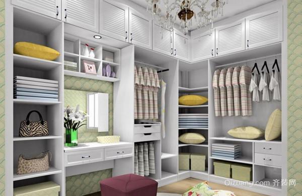 拐角形设计的衣柜适合面积大,多功能的卧室,它将梁柱包覆起来,形成图片