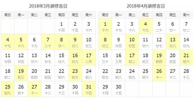 3-12月的装修吉日