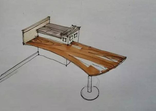 设计师徒手草图~餐桌立体示意图