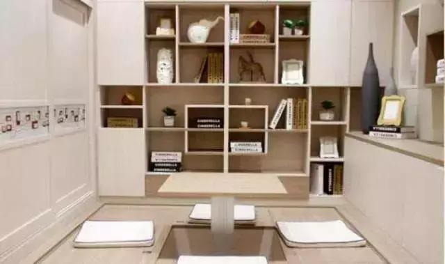 利用榻榻米打造多合一的空间,办公、阅读、会客、茶歇、睡眠、储物,多效合一