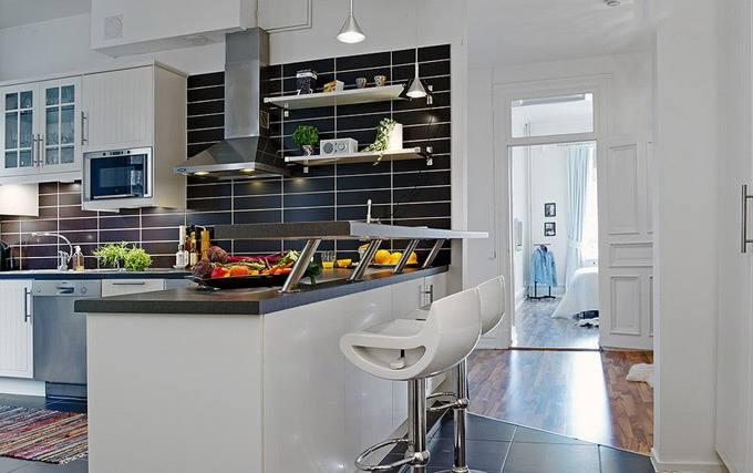 小户型开放式厨房巧妙隔断 开放式厨房吧台设计