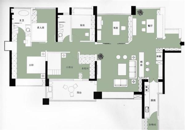 150㎡现代混搭风 客厅和阳台的设计超棒