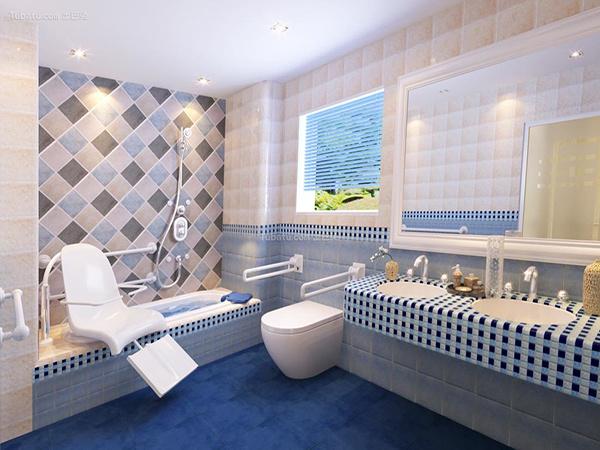 地中海风格卫生间门和瓷砖