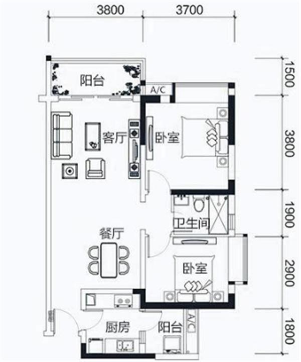 15万改造70㎡小户型 客厅打造花园和书房