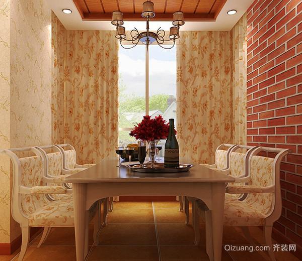 甜美的碎花布艺装饰,厚重的实木家具,都是一些平淡的色彩,在这个欧式田园的复式住宅装修设计,闲适的意象似乎很亲切,在无形中增加食欲。  6、色彩柔和 欧式田园风格在装修中为了营造清新舒适的环境,在色瓷上多选择比较融合的暖色调,来综合欧式的沉闷之气,碎花搭配欧式风格家具,让室内色彩更加温馨舒适。