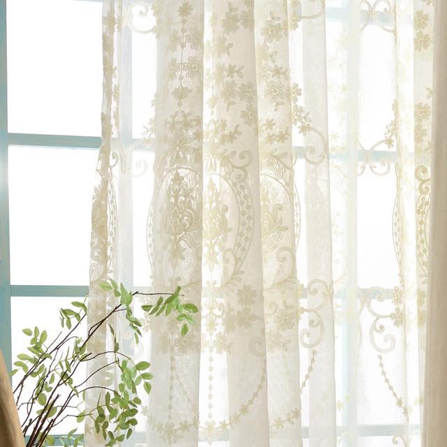 欧式刺绣白纱窗帘