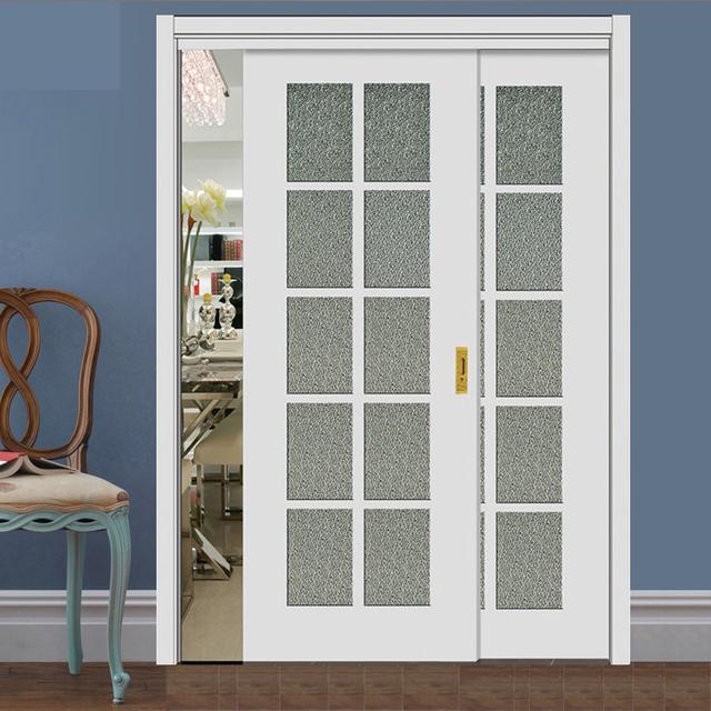实木磨砂钢化玻璃门