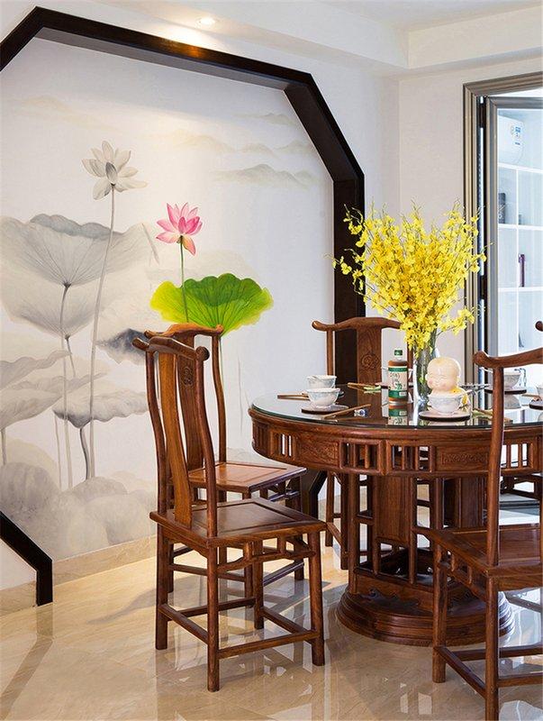 124㎡现代中式餐厅装修设计
