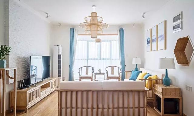 130㎡新中式风格客厅装修设计